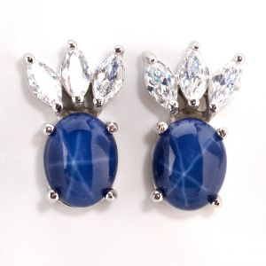 blue star sapphire earrings